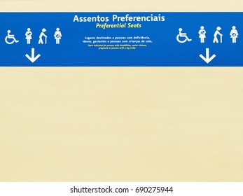 Symbol of orientation for preferential seating