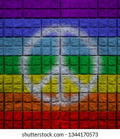 symbol of peace on a wall colored with peace colors