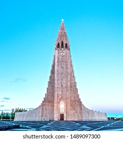 Symbol of Reykjavik, the largest in Iceland famous Hallgrimskirkja church.
