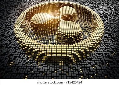 Symbol ripple from golden small cubes, towering above the background of black small cubes. 3D rendering.