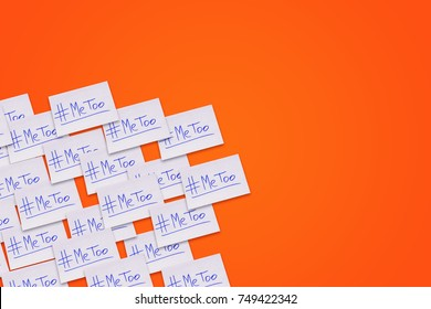 Symbol of sexual assault and harassment. Text on piece of paper on orange background. New movement with hashtag MeeToo.