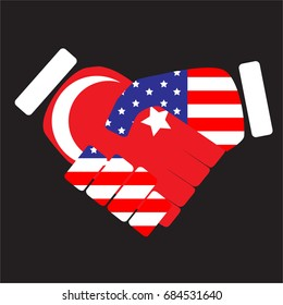 Symbol sign handshake USA and Turkey. Cooperation friendship, international agreement, country unity. art abstract unusual fashion illustration