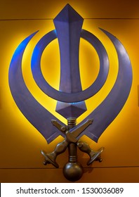 symbol of sikh religion inside sikh temple in Delhi India
