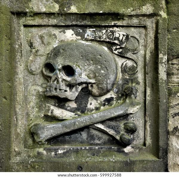 Symbol Skull Bones Carved On Old Stock Photo Edit Now 599927588