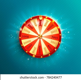 Symbol of spinning fortune wheel in realistic style. Shiny lucky roulette for your design on blue glowing background. Raster copy.