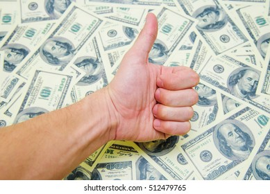 Symbol thumbs up money background. Earnings of money Business concepts.
