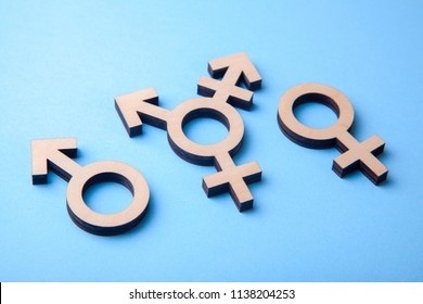 Symbol of transgender and gender symbols of man and woman of tree on blue background