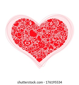 Symbol of Valentine's Day. Red heart of valentines icons.