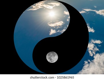 Symbol of yin and yang, day and night, sun and moon on a white background