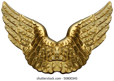 Symbolic composition of golden wings isolated onwhite.