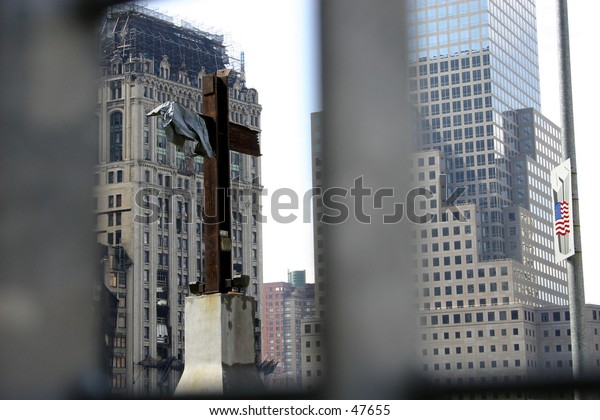 A symbolic cross at Ground Zero in New York City