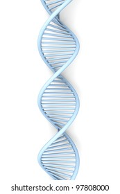 A symbolic DNA model. 3D rendered illustration. Isolated on white.