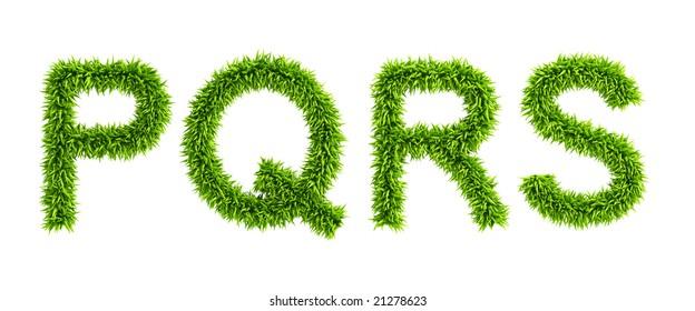 symbolic grassy alphabet 3d rendering
