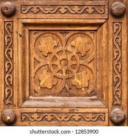Symbolic patterns carved in wood