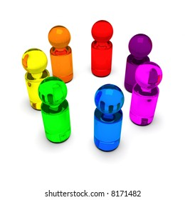 symbolic people in rainbow colors standing in a circle