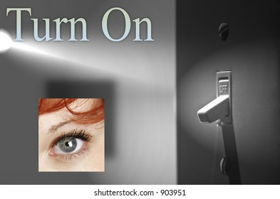 Symbolic photo of womens eye and electric light switch and words, turn on.