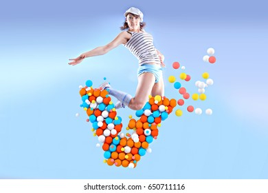 symbolic picture for fitness and intake of vitamins during sport