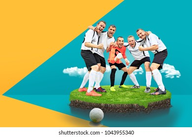 symbolic picture for a won soccer or football game with cheering male player