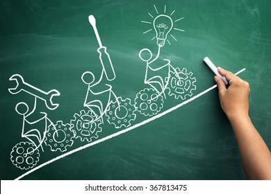 symbolic representation of teamwork with a drawn stickmen who ride their bikes on blackboard