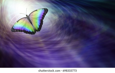 Symbolic Spiritual Release -  Beautiful multicolored butterfly moving into the light depicting a departing soul