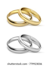 Symbolic wedding objects with gold and silver metal rings in realistic style isolated  illustration