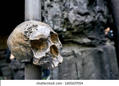 symbols of cannibals and voodoo shamans, skulls on a spire
