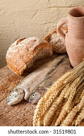 Symbols of christian belief : wine, bread and fish