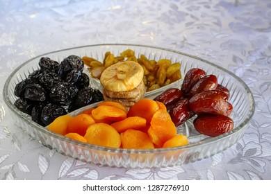 Symbols of the Jewish holiday Tu Bishvat - Dried fruits. Dried fruits of Israel