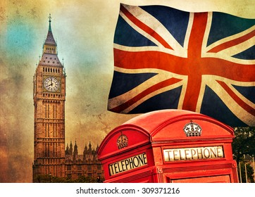 Symbols of London, England, the UK. Telephone red booth, Big Ben and the national flag. Vintage retro style