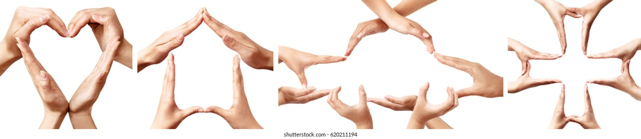 Symbols made by hands representing concepts of insurance, heart, health, home insurance, car auto insurance, cross, life medical isolated on white background