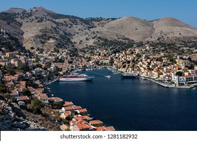 Symi, Dodecanese, Greece. Oct 1st 2017. Symi Town and Harbor.