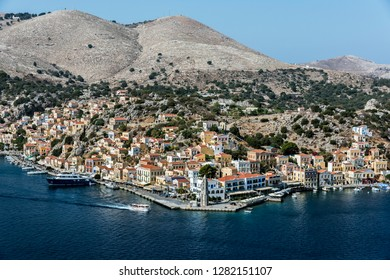 Symi, Dodecanese, Greece. Oct 1st 2017.  Symi Town and Harbour.