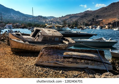 Symi, Dodecanese, Greece. Oct. 1st 2017. Old Boats at Pedi Bay.