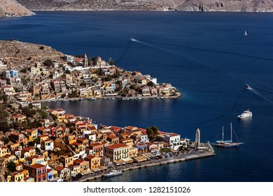 Symi, Dodecanese, Greece. Oct 2nd 2017.  Symi Town and Harbour.
