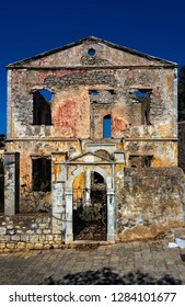 Symi, Dodecanese, Greece. Sept. 28th 2017. Ruins on the Kali Strata.