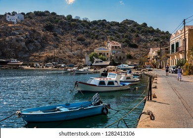 Symi, Dodecanese, Greece. Sept. 30th. 2017. Symi Town Harbour.