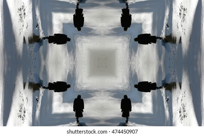 symmetric composition, kaleidoscopic, allegory of loneliness,geometric composition woman walking along the beach, abstract surreal photography, abstract naturalism,surreal, surrealism,art,