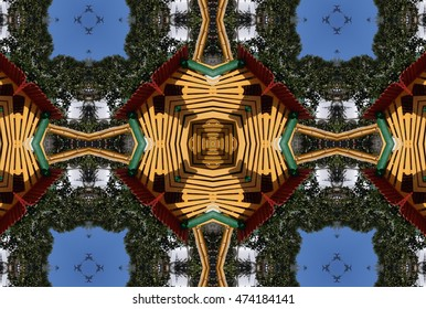 symmetric composition, kaleidoscopic, Creating geometric play children, cubist photography, abstract surreal view of a nursery facility for games,