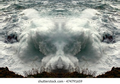 symmetric composition, kaleidoscopic, Fantastic sea foam animals,geometric composition of Wave crashing, artistic  composition,abstract photography, abstract surrealism, tribute to Dalí, Sea monsters,