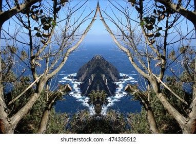 symmetric composition, kaleidoscopic, geometric, abstract, surreal landscape of the coast of Galicia, abstract surreal photography North, Cedeira, La Coruna, Spain,