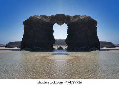 symmetric composition, kaleidoscopic, geometric composition of cliffs and beaches,photography surreal beach Cathedrals,allegory of fear of being unprotected in the face of adversity,visual allegories,