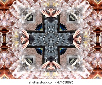 symmetric composition, kaleidoscopic, geometric composition, musical instrument made with crystal glasses and water, geometric composition of a three-dimensional space, abstract photography ,