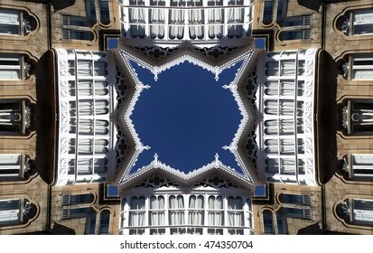 symmetric composition, kaleidoscopic, house in Galicia, Cedeira, A Coruña, geometric composition  abstract photography, windows, balconies, typical construction, abstract surrealism,abstract geometry,