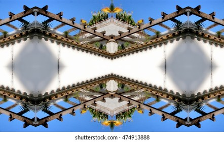 symmetric composition, kaleidoscopic,geometric composition, terrace in Ibiza, Typical constructions of white houses, in the town of Ibiza, cobbled streets and steep, narrow streets,