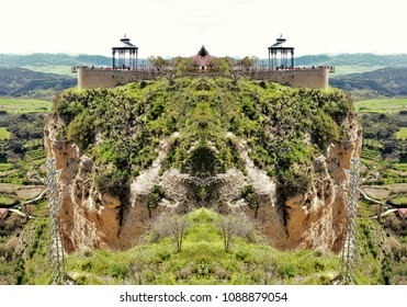 Symmetric landscape photograph of the city of Ronda in winter