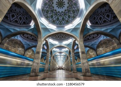 Symmetric Metro Station Architecture in Central Tashkent, Uzbekistan taken in 2018