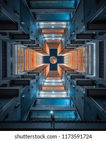 symmetric picture of high building in shanghai.