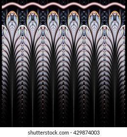 Symmetrical blue fractal flower, digital logarithm for creative graphic