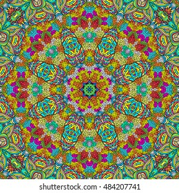 Symmetrical colorful kaleidoscopic pattern for design and background