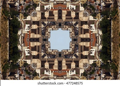 symmetrical composition, kaleidoscopic, mirror effect, photograph of buildings in the city of Toledo, Spain, creative photography with geometric patterns, symmetry